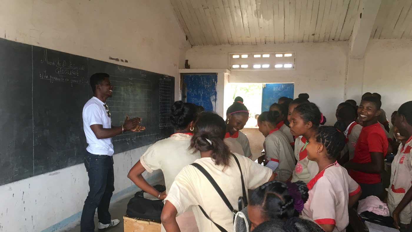 Students in an SRHR class
